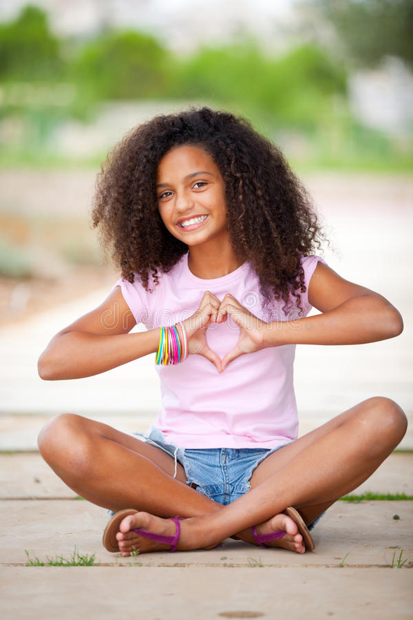 Teenager Abbastanza Afro Fotografia Stock Libera da Diritti