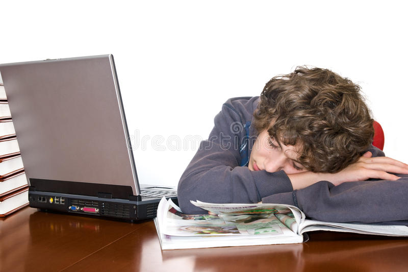 Download Teenager Asleep Studying For Examination Stock Image - Image: 14162513