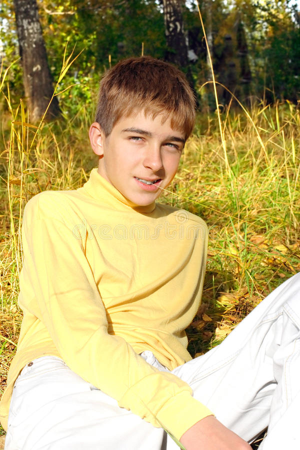 Download Teenager in autumn park stock image. Image of looking - 26253467