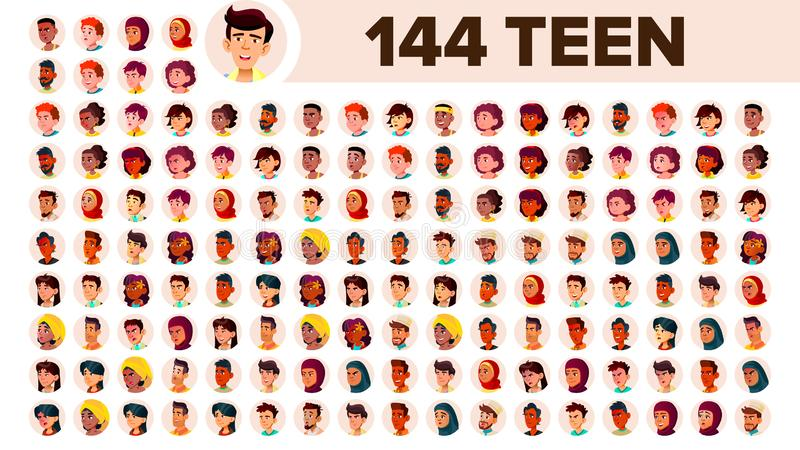 Teenager Avatar Set Vector. Girl, Guy. Multi Racial. Face Emotions. Multinational User People Portrait. Male, Female royalty free illustration