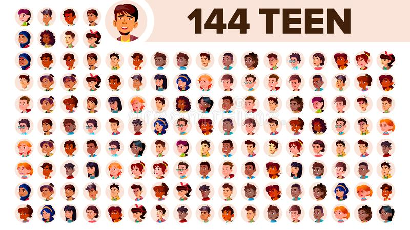 Teenager Avatar Set Vector. Multi Racial. Face Emotions. Multinational User People Portrait. Male, Female. Ethnic. Icon stock illustration