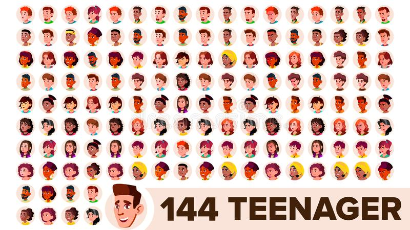 Teenager Avatar Set Vector. Girl, Guy. Multi Racial. Face Emotions. Multinational User People Portrait. Male, Female. Ethnic. Modern Default Placeholder Icon vector illustration