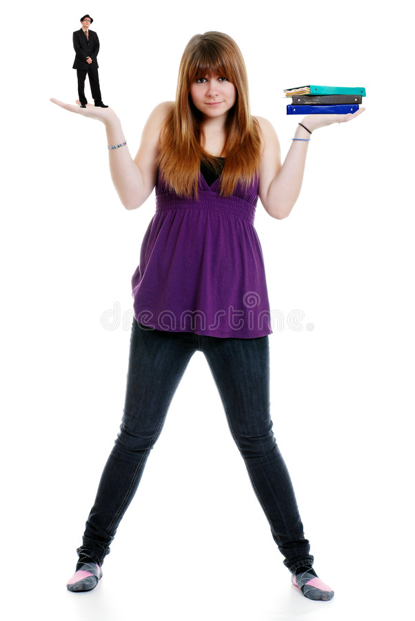 Teenager Balancing Boyfriend And School Work Stock Images