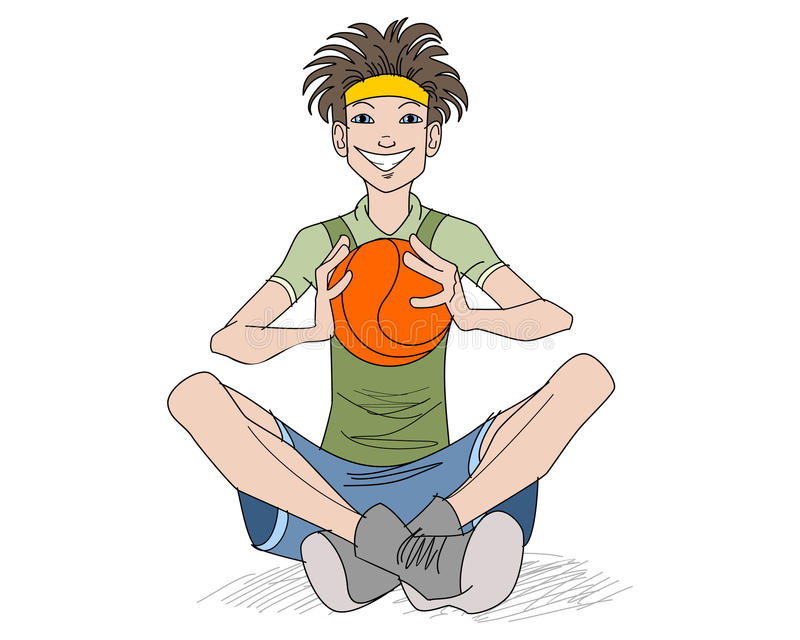 Teenager with a basketball ball. Vector illustration of a teenager with a basketball ball royalty free illustration