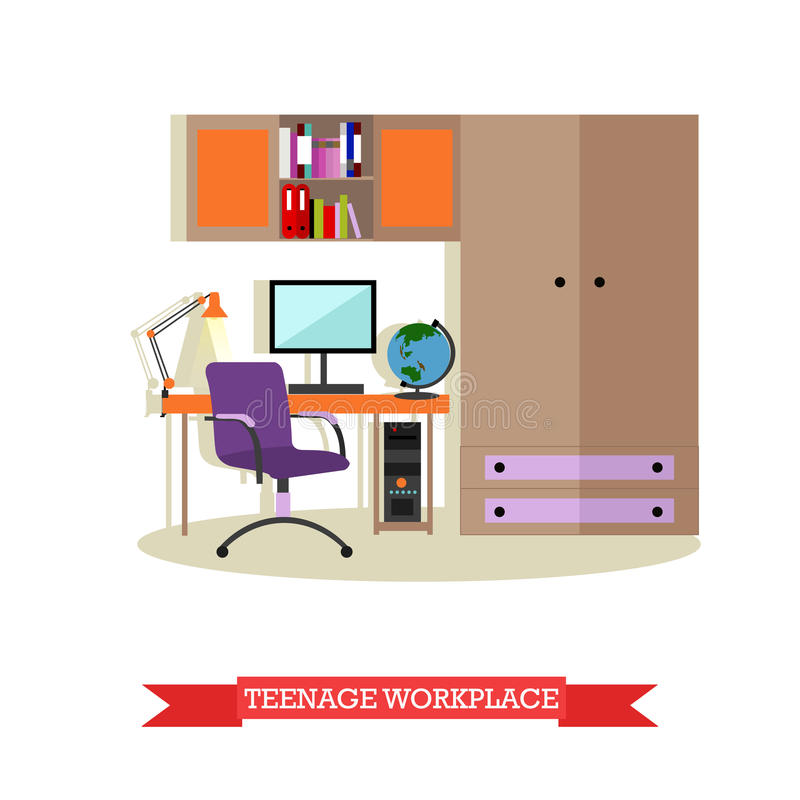 Download Teenager Bedroom Interior Objects In Flat Style Vector Illustration House Room Design Elements