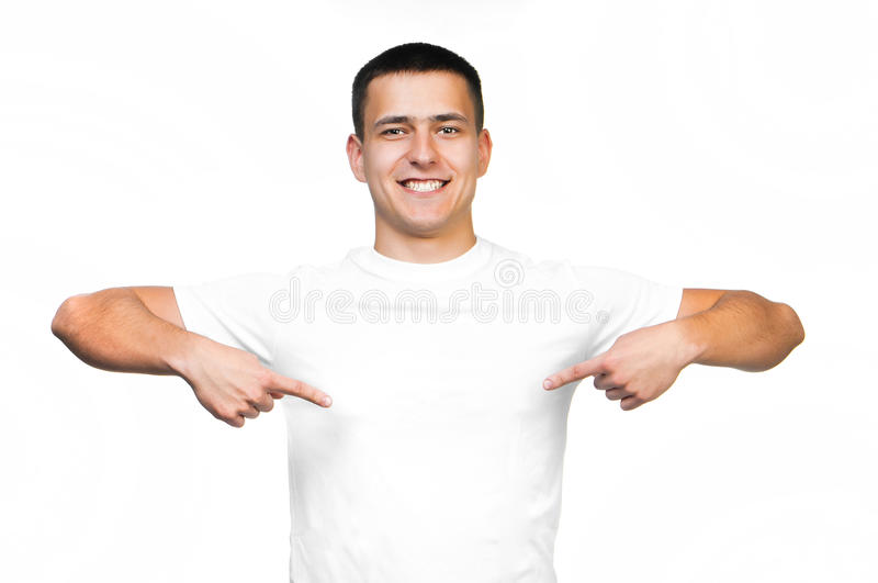 Teenager With Blank White Shirt Royalty Free Stock Photos