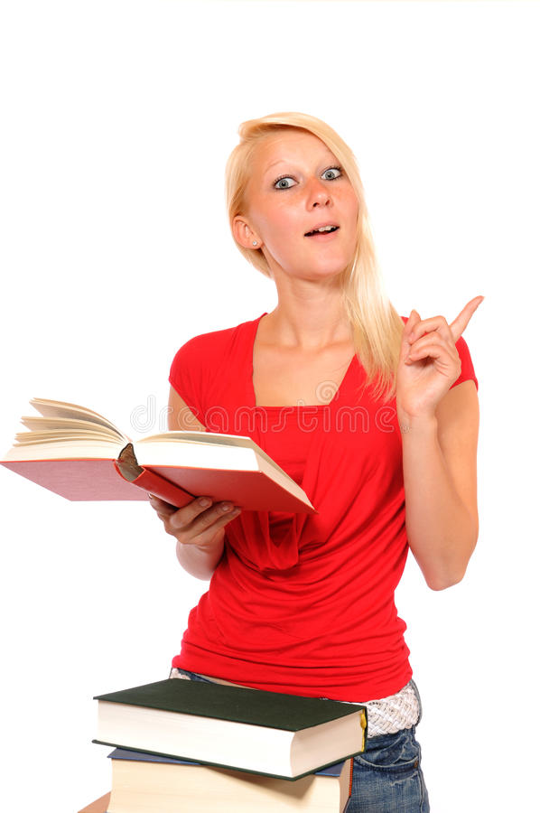 Teenager and books royalty free stock photo