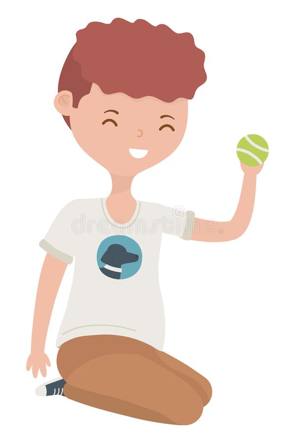 Teenager boy cartoon with tennis ball design. Teenager boy with tennis ball design, person portrait young youth student and teen theme Vector illustration royalty free illustration