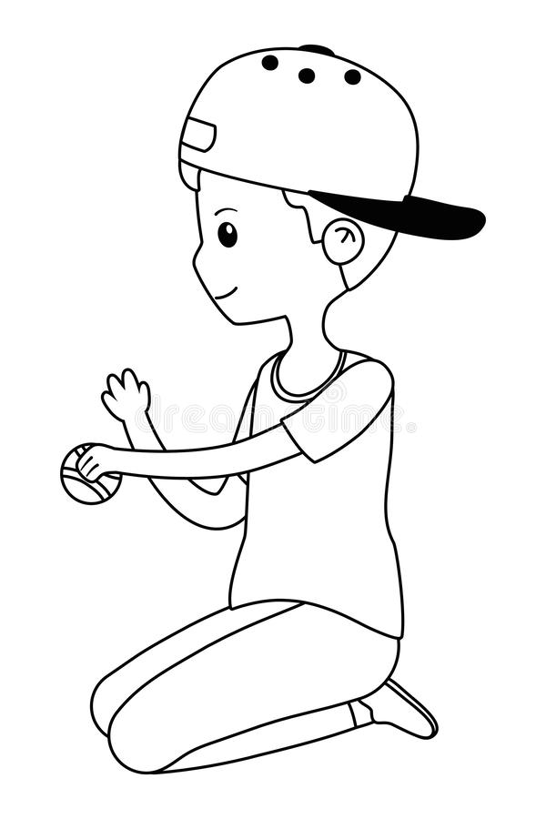 Teenager boy cartoon with tennis ball design. Teenager boy with tennis ball design, person portrait young youth student and teen theme Vector illustration stock illustration