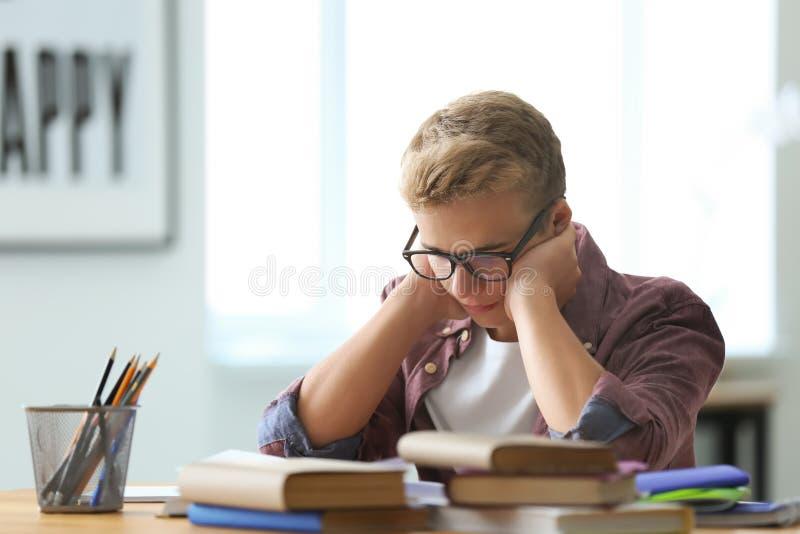 Teenager boy doing homework at home stock image