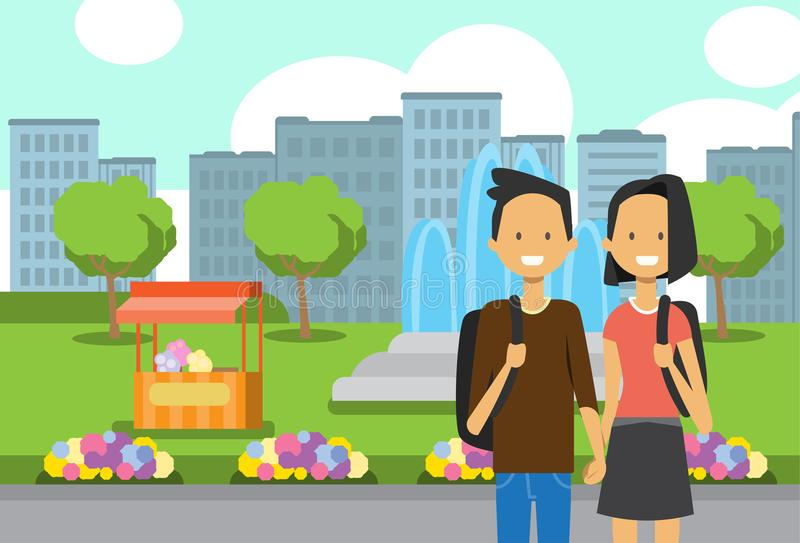 Teenager boy girl couple in love, portrait avatar over city park ice cream fountain flowers green lawn trees template. Background flat vector illustration vector illustration