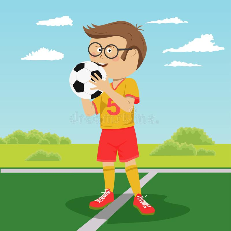 Teenager boy with glasses poses with soccer ball on field. Teenager boy with glasses poses with soccer ball on the field vector illustration
