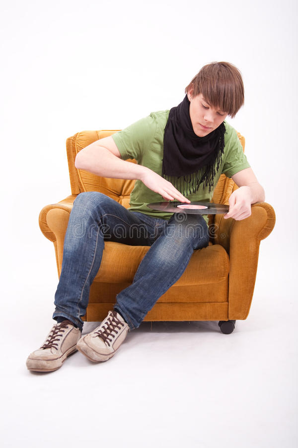 Teenager boy play DJ royalty free stock photos