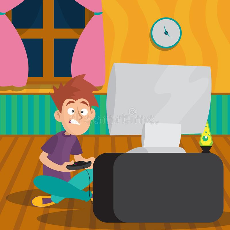 Teenager boy playing in video game at room. Cartoon kid character sitting on floor in front of TV with joystick in hands. Teenager boy playing in video game at vector illustration