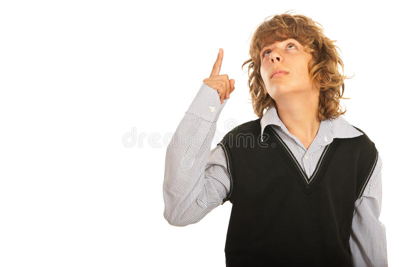 Download Teenager boy pointing up stock image. Image of clothes - 31737523