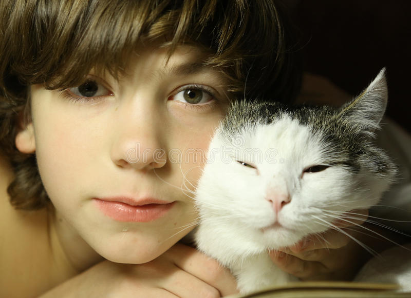 Teenager boy reading book with cat in bed. Close up photo, kid and cat royalty free stock photos
