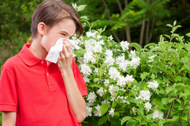 Teen boy blowing his nose on a tissue in a spring garden seasonal infection concept. Teenager boy with seasonal influenza blowing his nose on a tissue in a royalty free stock photography