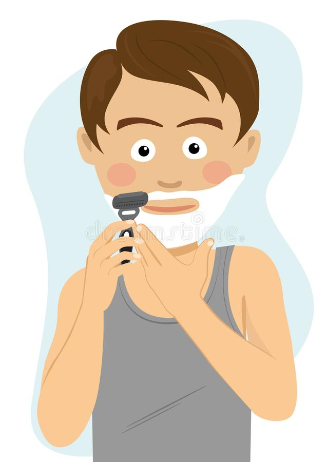 Free Teenager Boy Shaving For The First Time Getting Ready For School In The Morning. Royalty Free Stock Photo - 100919715