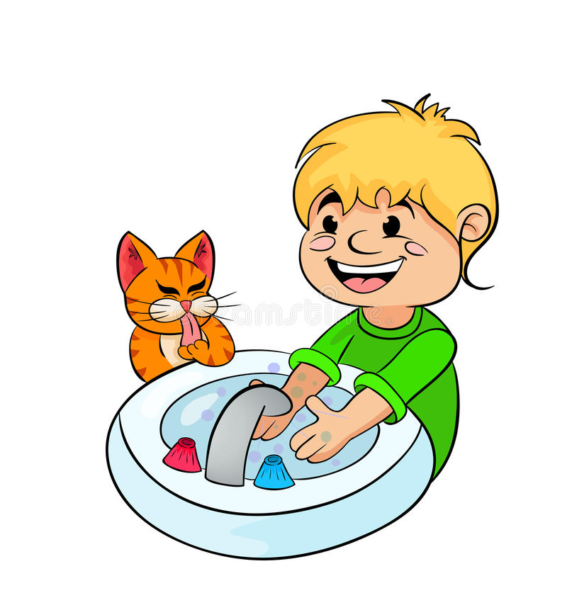 Teenager boy washing his hands. Teenager boy washes his hands under running water royalty free illustration
