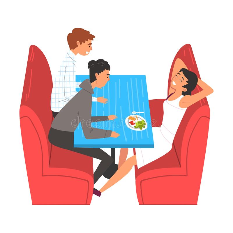 Teenager Boys Eating and Talking in Food Court in Shopping Mall Vector Illustration. On White Background vector illustration