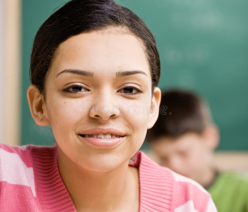 Teenager With Braces Smiling Royalty Free Stock Images