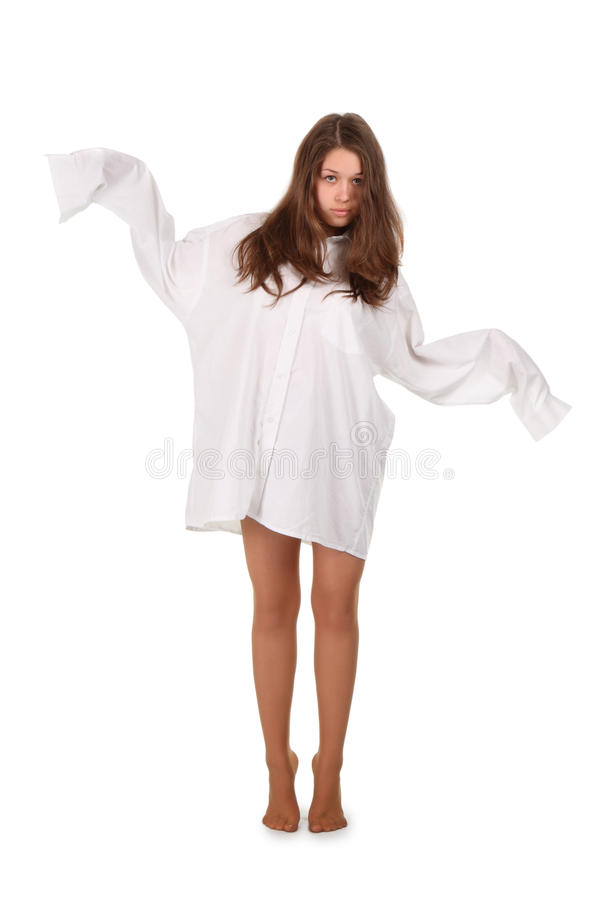 Teenager in camicia sopra bianco immagine stock