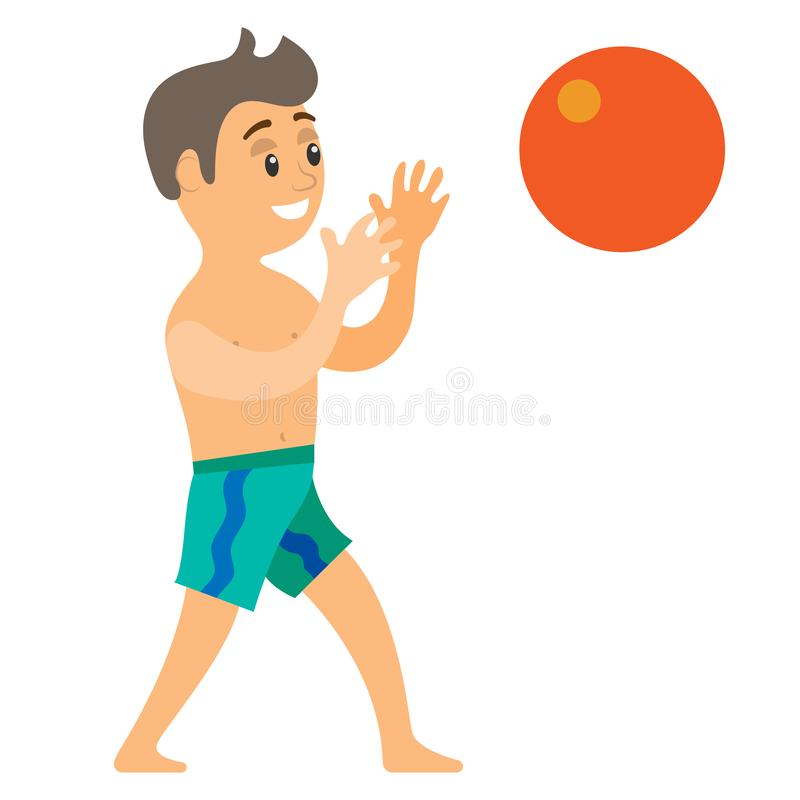 Teenager Catching Ball, Summer Vacation Vector. Boy catching ball, portrait view of smiling teenager wearing shorts, summer or beach activity, volleyball game stock illustration