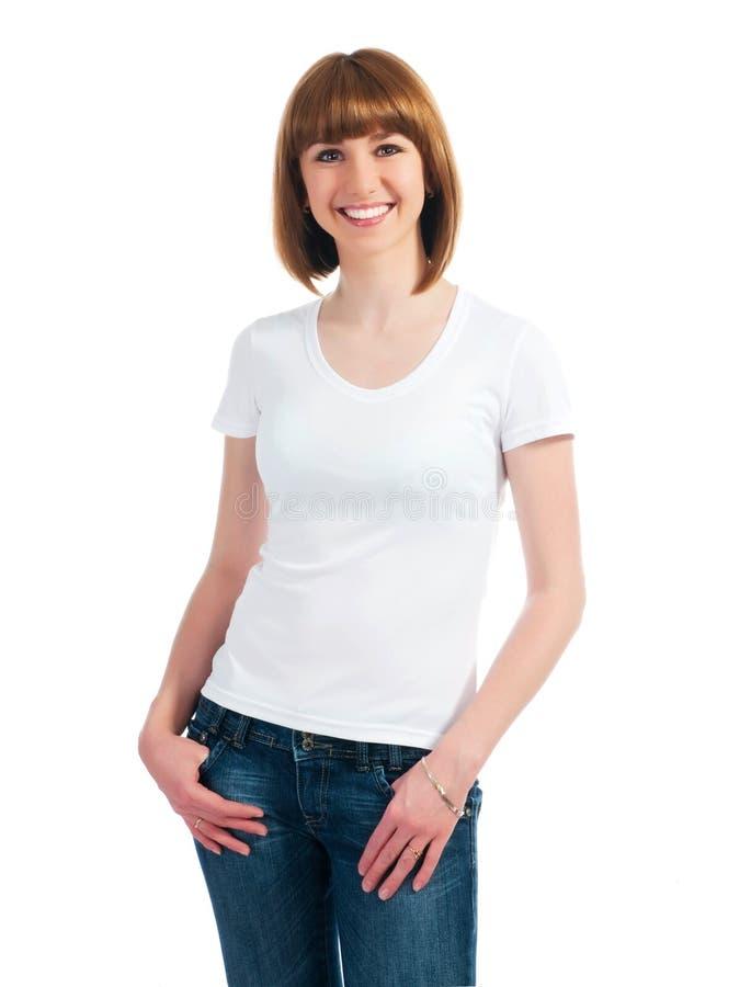 Teenager caucasico bianco portando una maglietta pulita fotografia stock