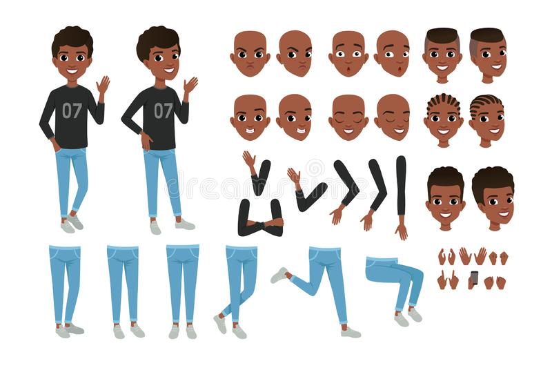 Teenager character constructor. Black boy s separate parts of body, different face expressions and haircuts. Isolated stock illustration