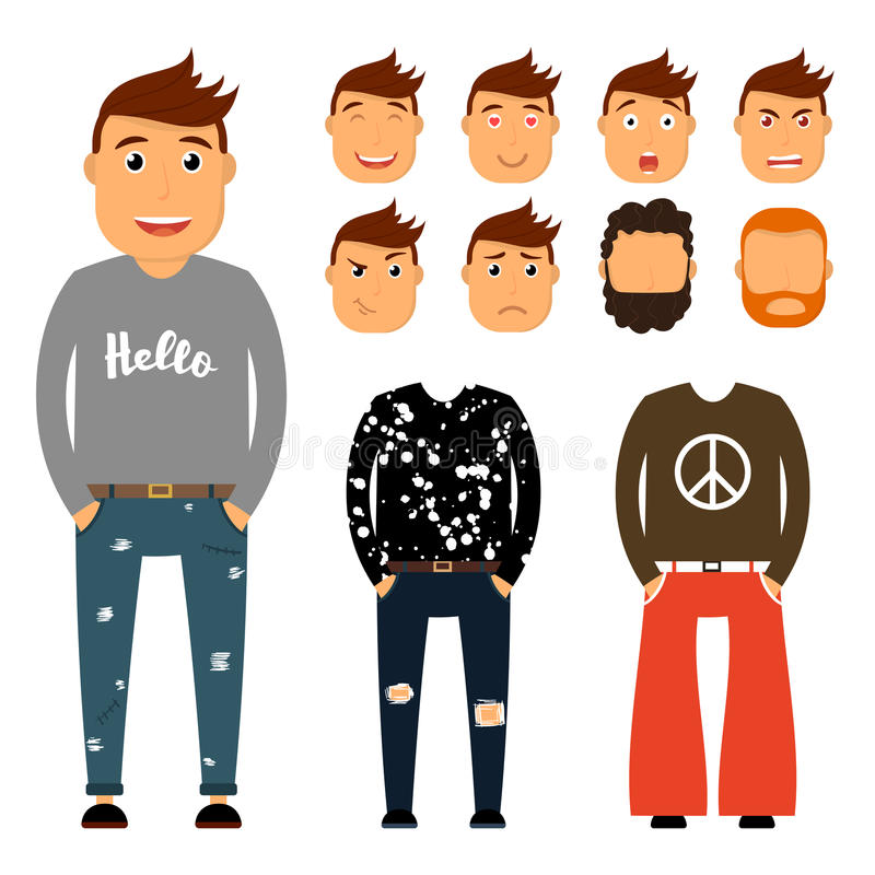 Teenager character creation set. Young man vector illustration. Boy constructor with various gesture, emotion on face stock illustration