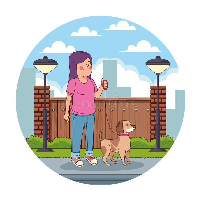 Teenager in the city cartoon round icon royalty free illustration