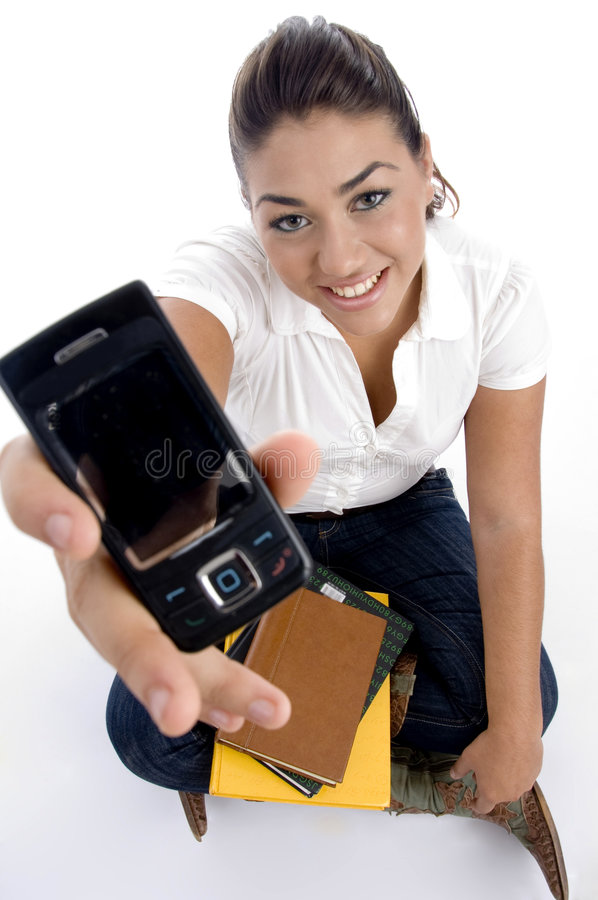 Teenager College Showing Her Multimedia Cell Royalty Free Stock Image