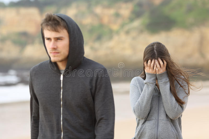 Teenager couple breaking up stock image