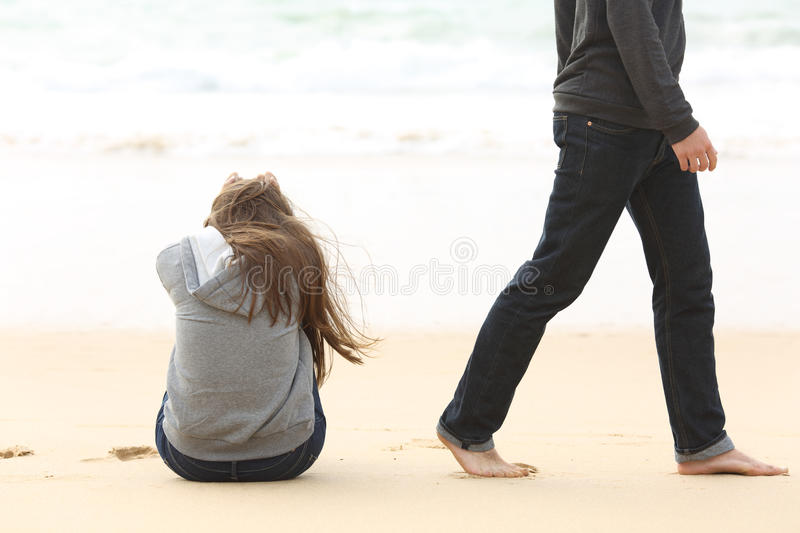 Teenager couple breaking up ending relation stock photos