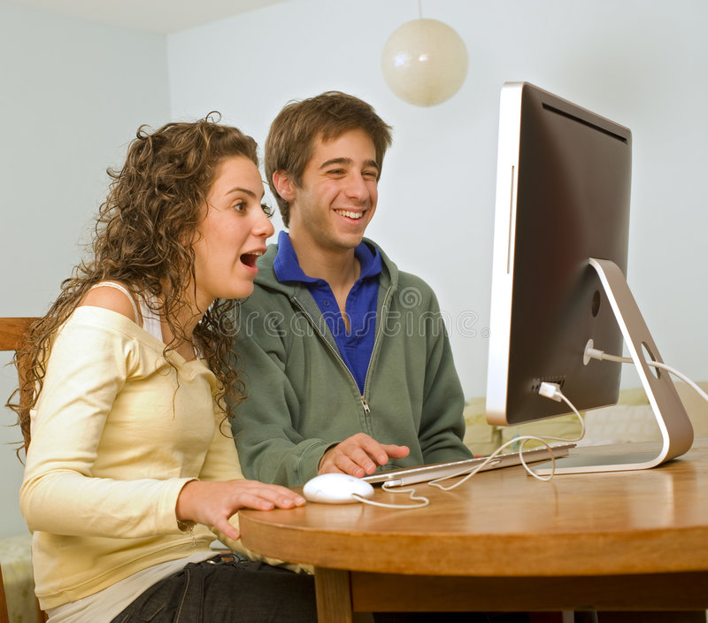 Download Teenager couple computer stock photo. Image of happy, beautiful - 7602156
