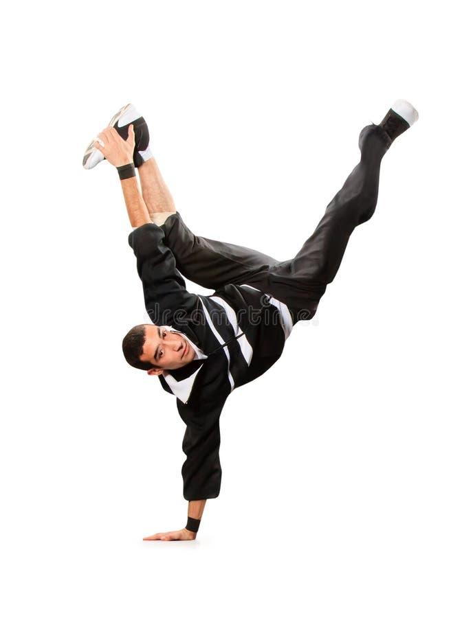 Teenager dancing break dance in action. Over white stock photo