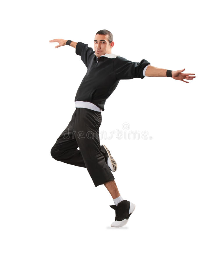 Teenager dancing break dance in action. Over white royalty free stock photography