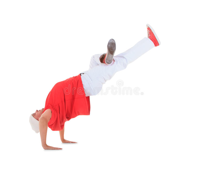 Teenager dancing break dance in action. Over white royalty free stock photo
