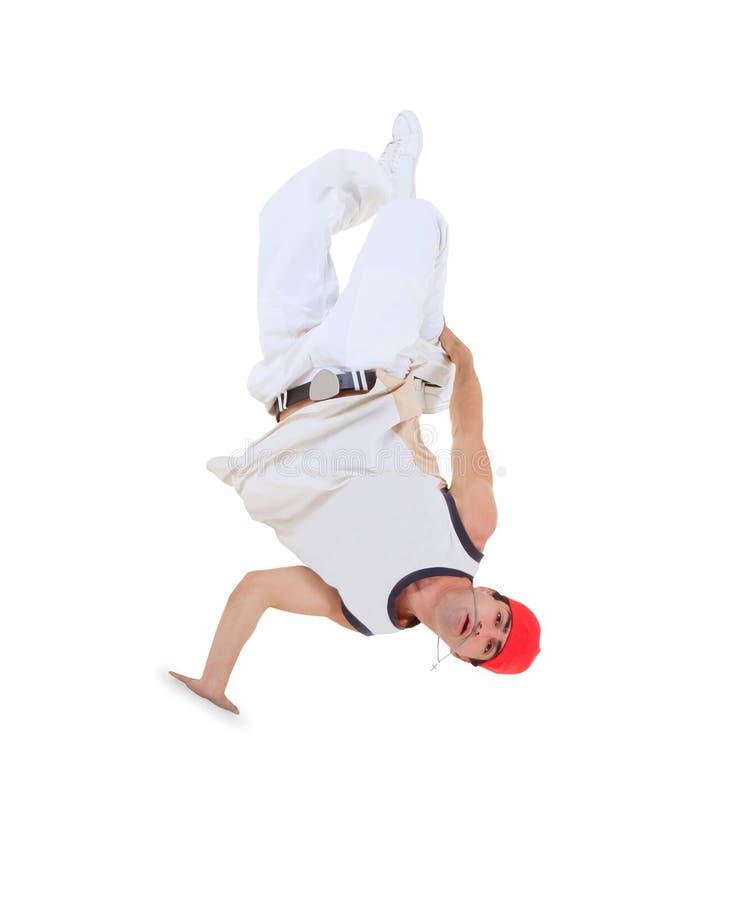 Teenager dancing break dance in action. Over white stock images