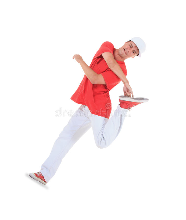 Teenager dancing break dance in action. Over white royalty free stock image