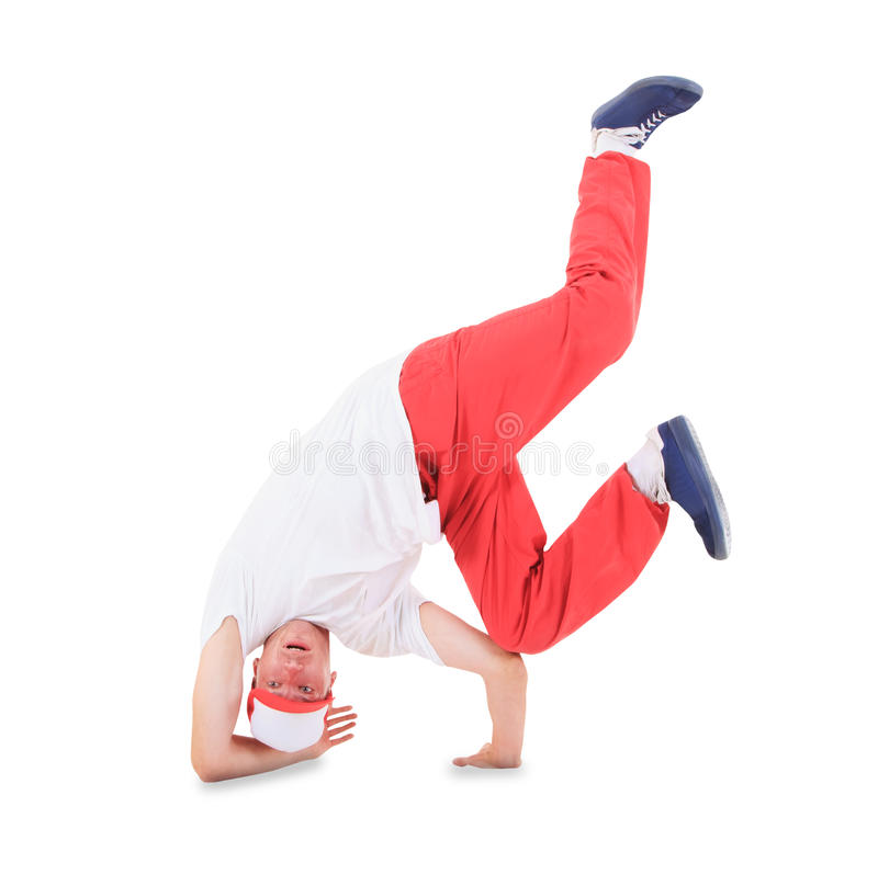 Teenager dancing break dance in action. Over white stock image
