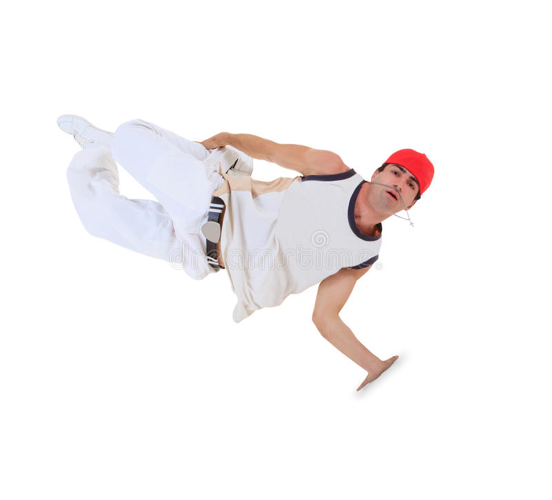 Teenager dancing break dance in action. Over white royalty free stock photos