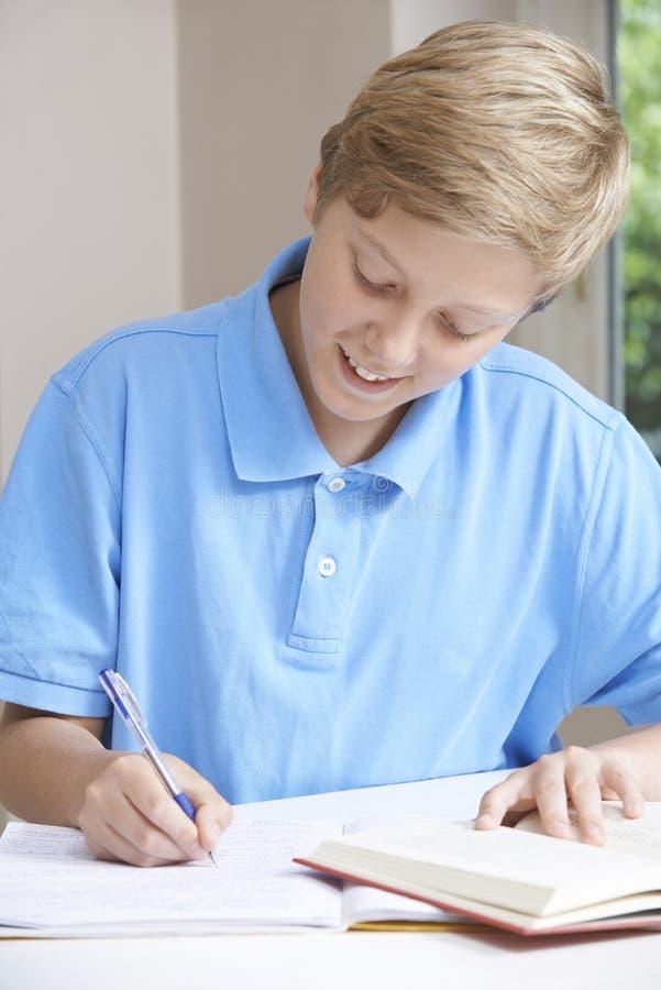 Teenager, der bei Tisch Hausarbeit tut lizenzfreies stockbild