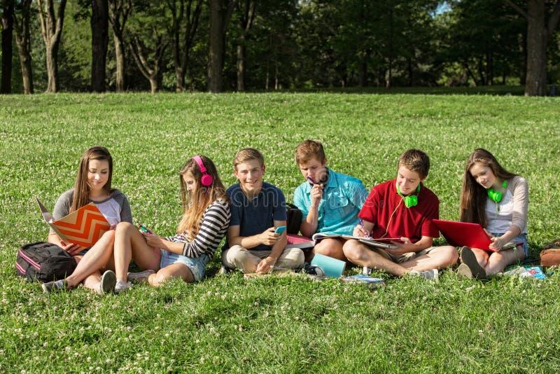 Teenager, der zusammen studiert stockbild