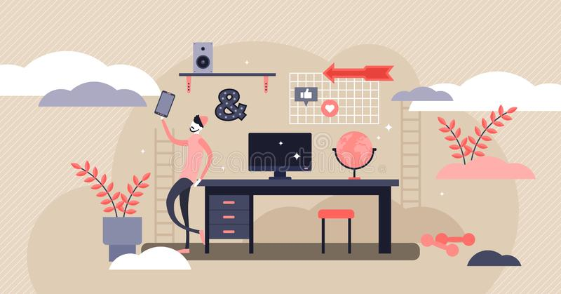 Teenager desk vector illustration. Flat tiny teen lifestyle persons concept. Room furniture for generation Z smart knowledge learning. Modern schoolboy royalty free illustration