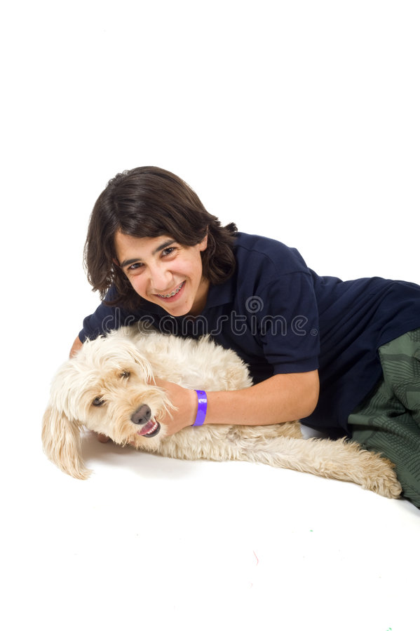 Teenager and dog stock photography