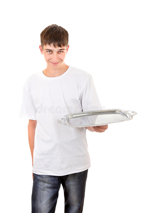 Download Teenager with Empty Salver stock photo. Image of front - 35065666
