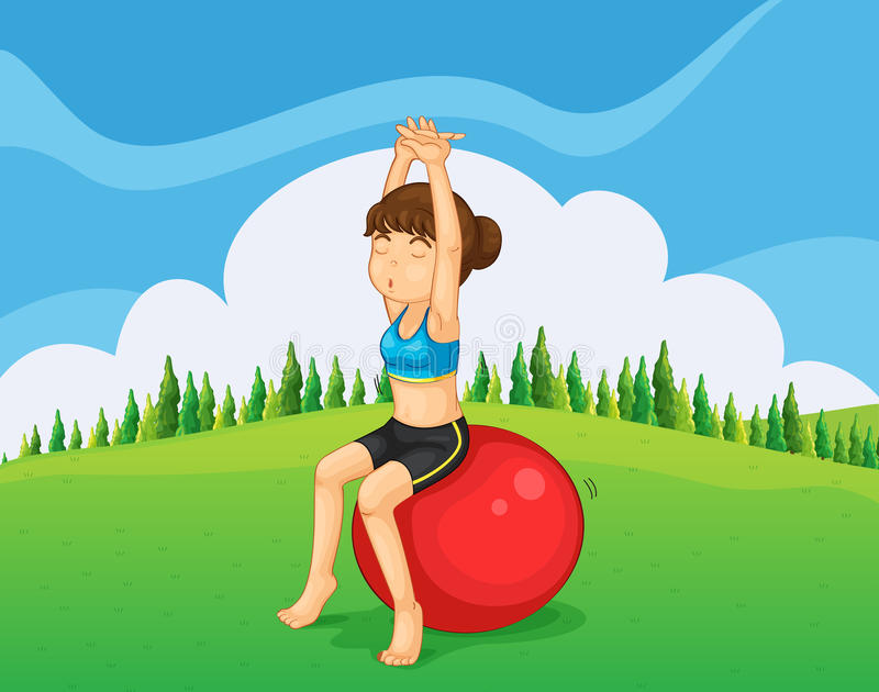 A teenager exercising at the hilltop with a bouncing ball. Illustration of a teenager exercising at the hilltop with a bouncing ball royalty free illustration
