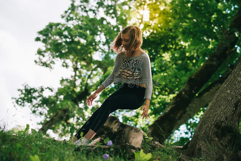 Teenager flower hippie girl enjoying summer. 10 years old girl stock photo