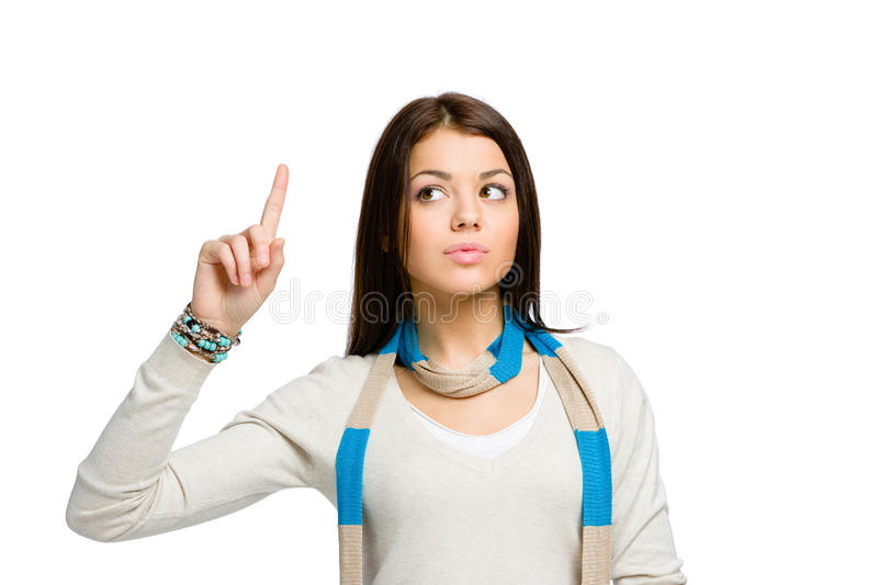 Teenager with forefinger gesture